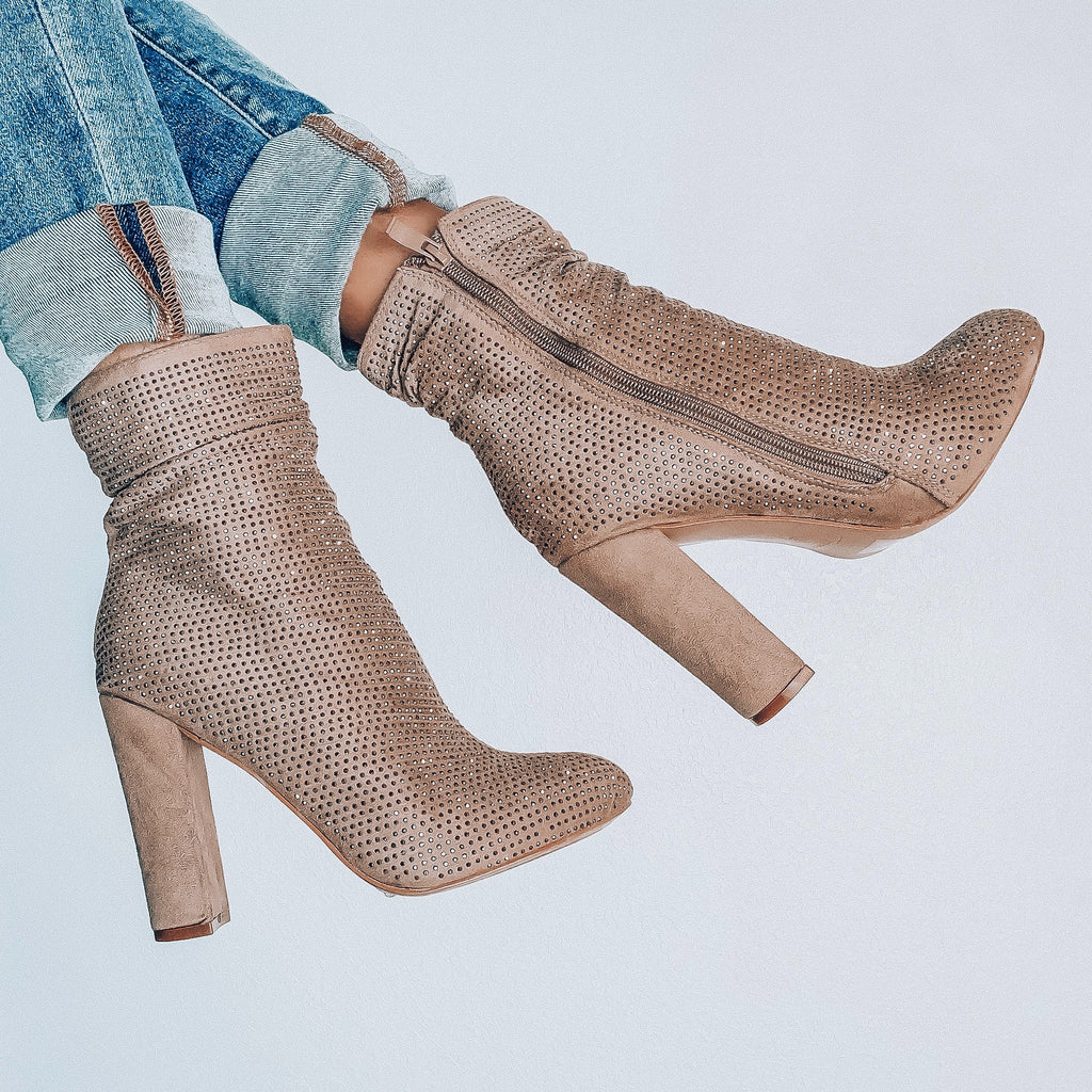 Diamond Booties - Taupe