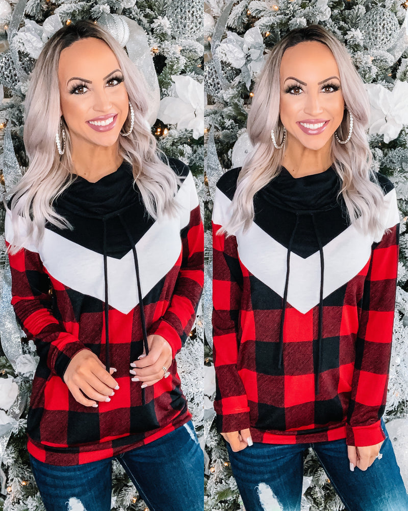 Cozy Season Cowl Neck Pullover - Buffalo Plaid