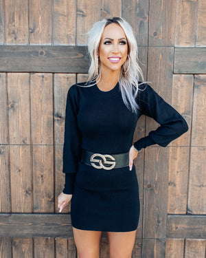 Give Me Attention Sweater Dress - Black