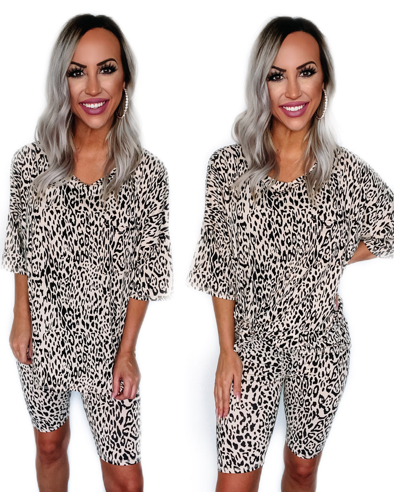 Leopard Biker Short Set
