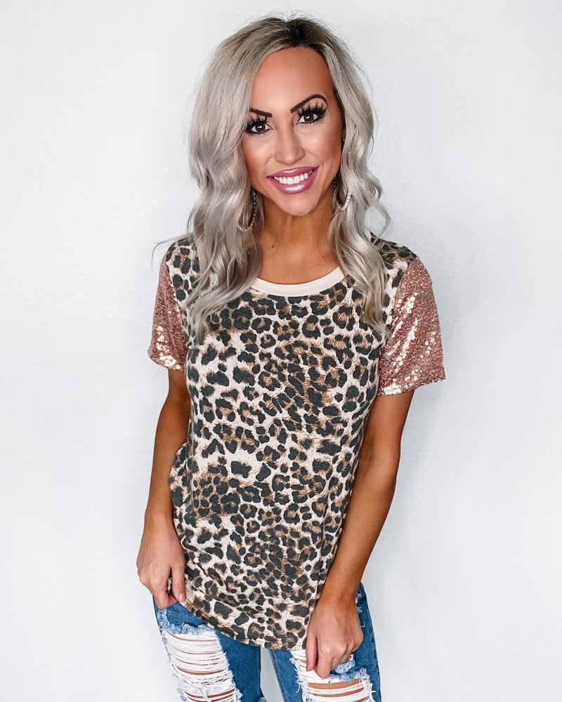 Make It Count Leopard Sequin Top