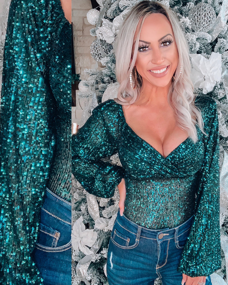 Dream Queen Sequin Bodysuit- Emerald Green