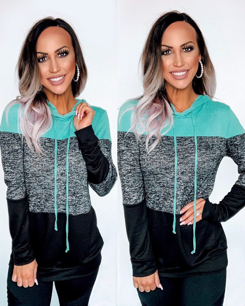 Mint/Charcoal Colorblock Hoodie