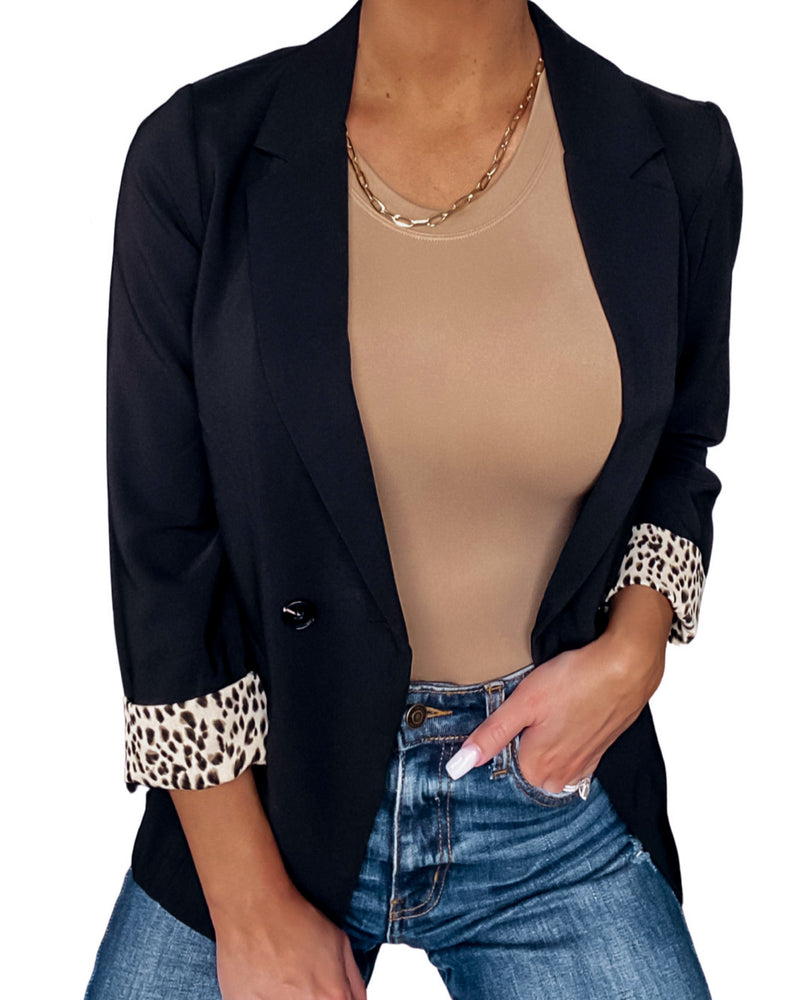 Now Or Never Leopard Cuffed Blazer