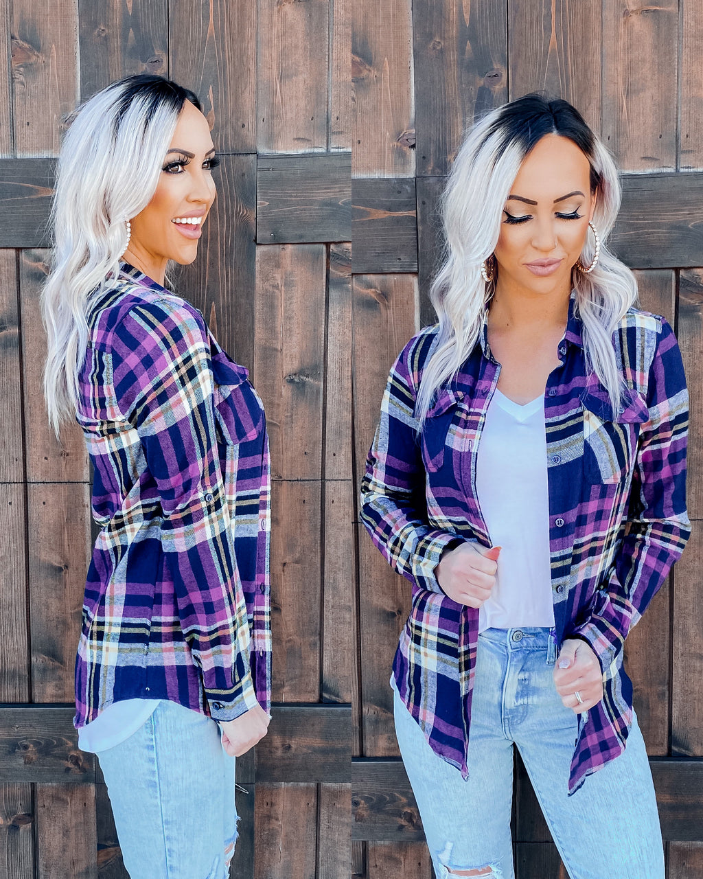 Home Town Girl Flannel - Purple/Navy
