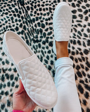 Quilted Slip On Sneakers - White