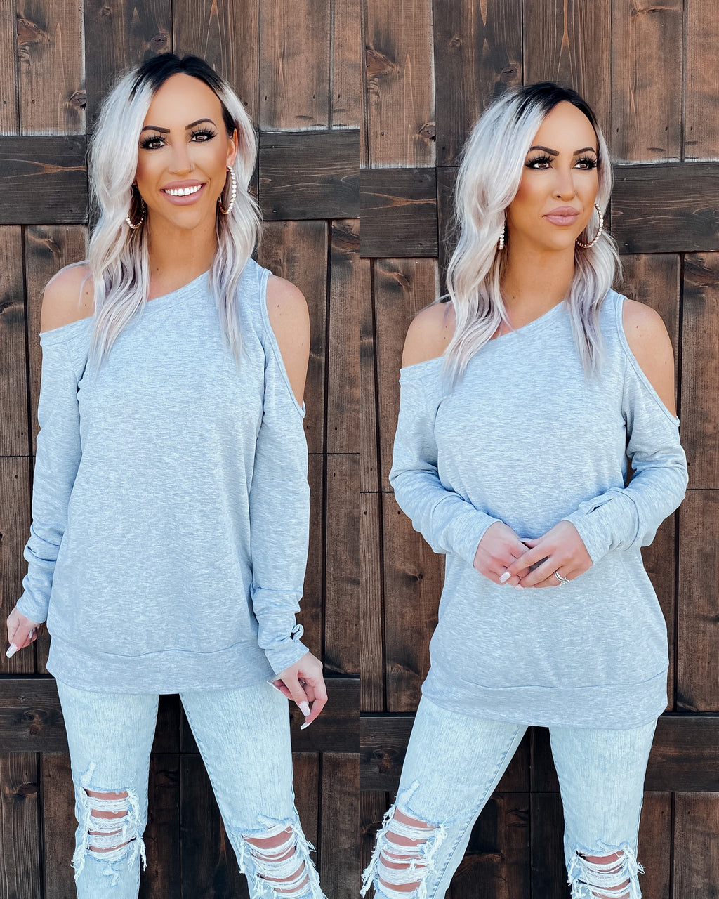 Avery Open Shoulder Top - Heather Grey