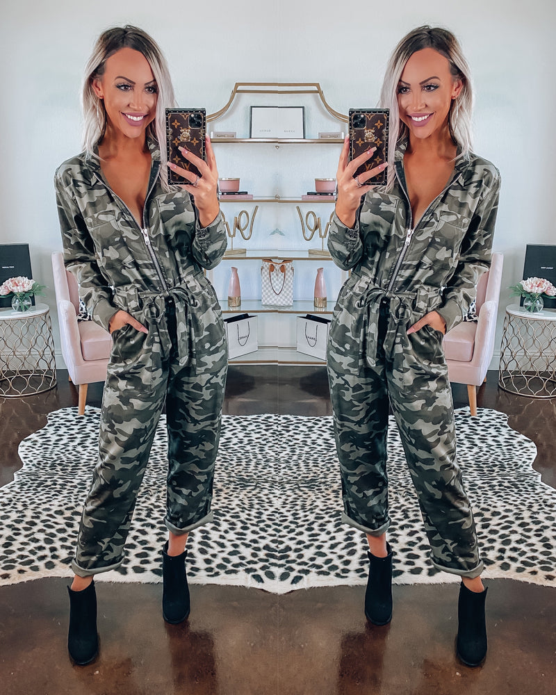 Lights Camera Action Camo Jumpsuit