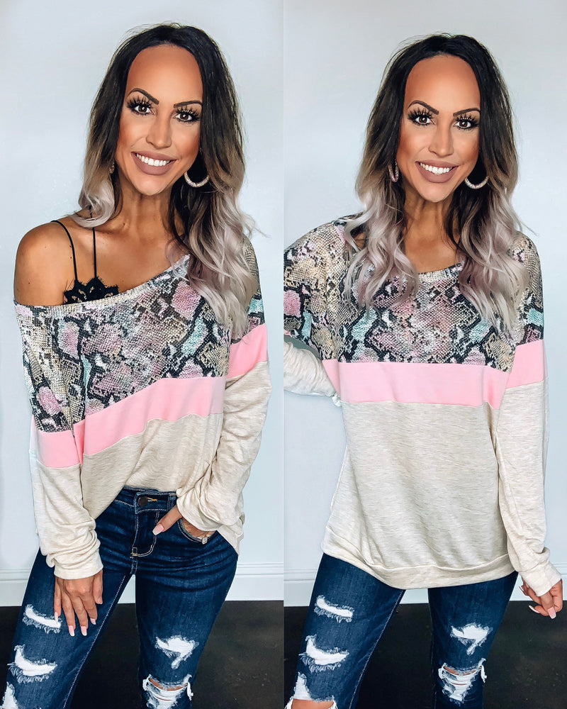 Gonna Get You Snake Sweatshirt - Oatmeal/Pink