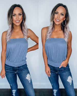 Slate Blue Smocked Tube Top