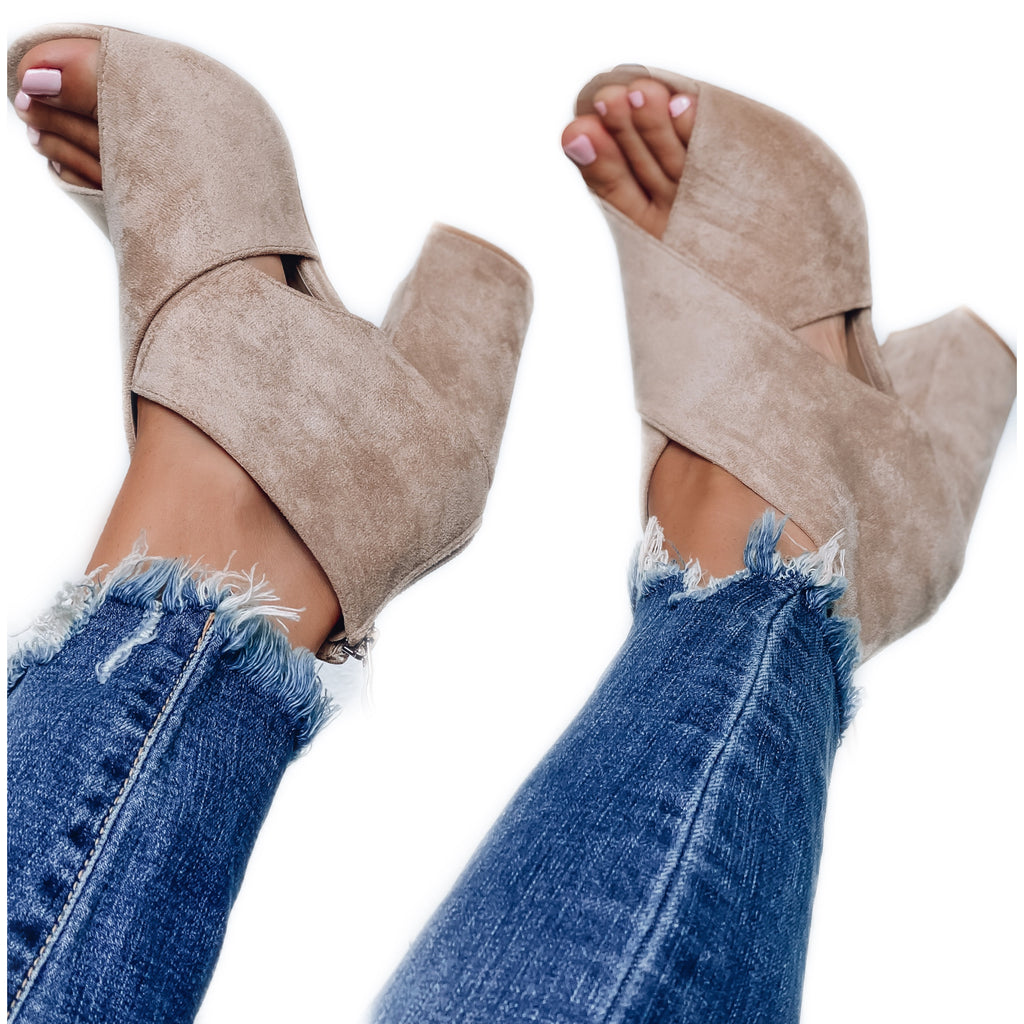 Gracie Criss Cross Peep Booties - Taupe