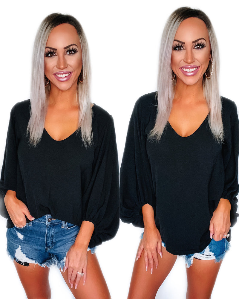 What A Girl Wants Puff Sleeve Top - Black