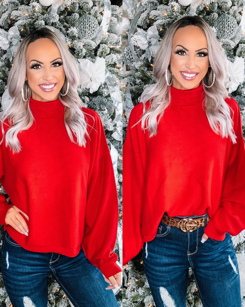 Boulevard Oversized Turtleneck Sweater - Red