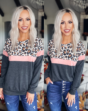 Hideaway Leopard Colorblock Pullover - Charcoal