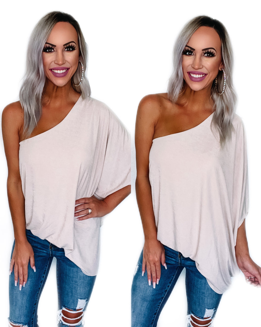 Great Escape One Shoulder Top - Taupe