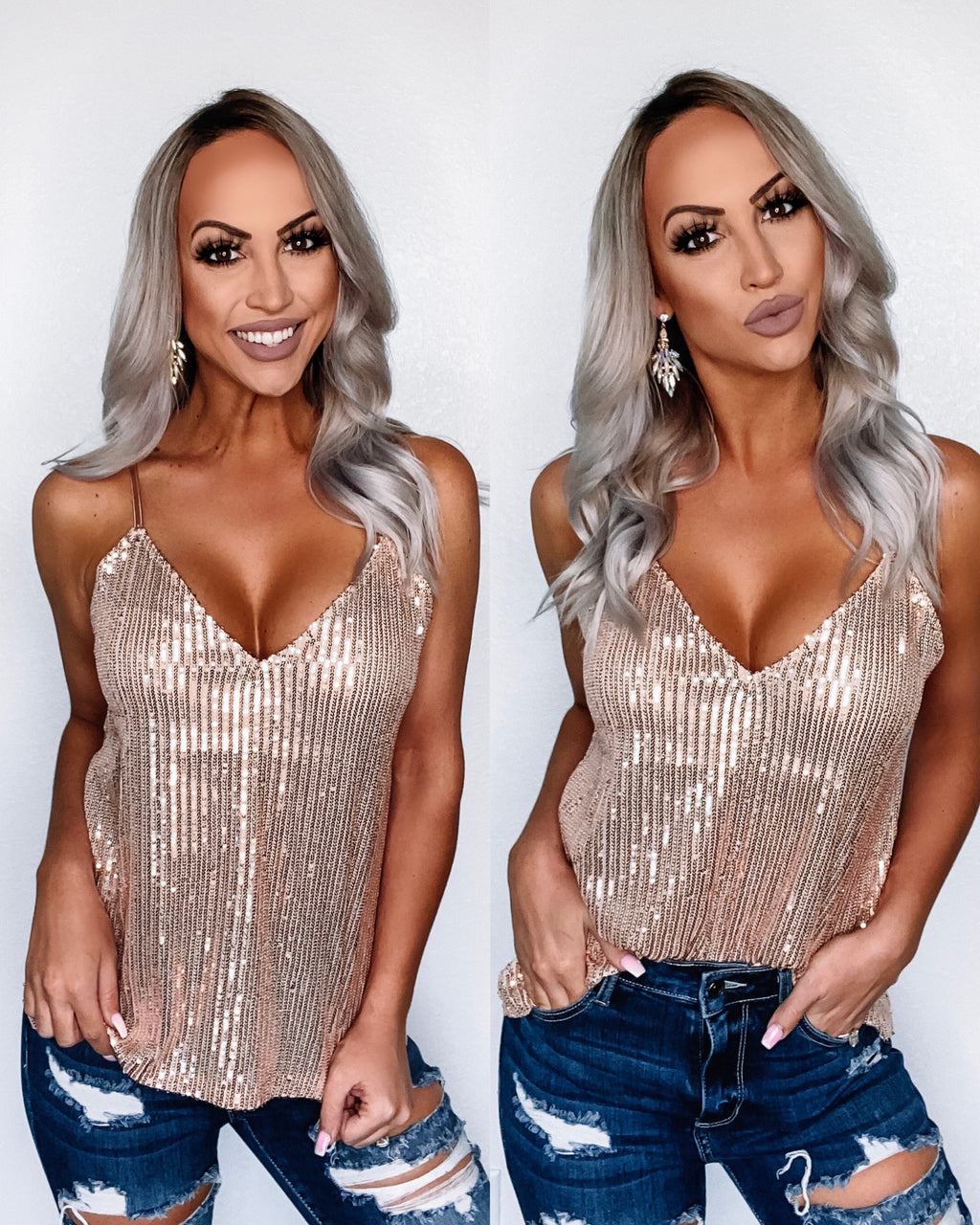 Night Life Sequin Tank - Rose Gold