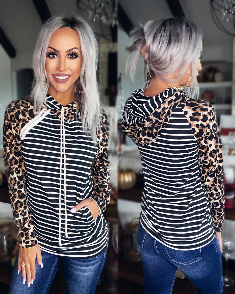 Let The Good Times Roll Stripe Leopard Double Hoodie