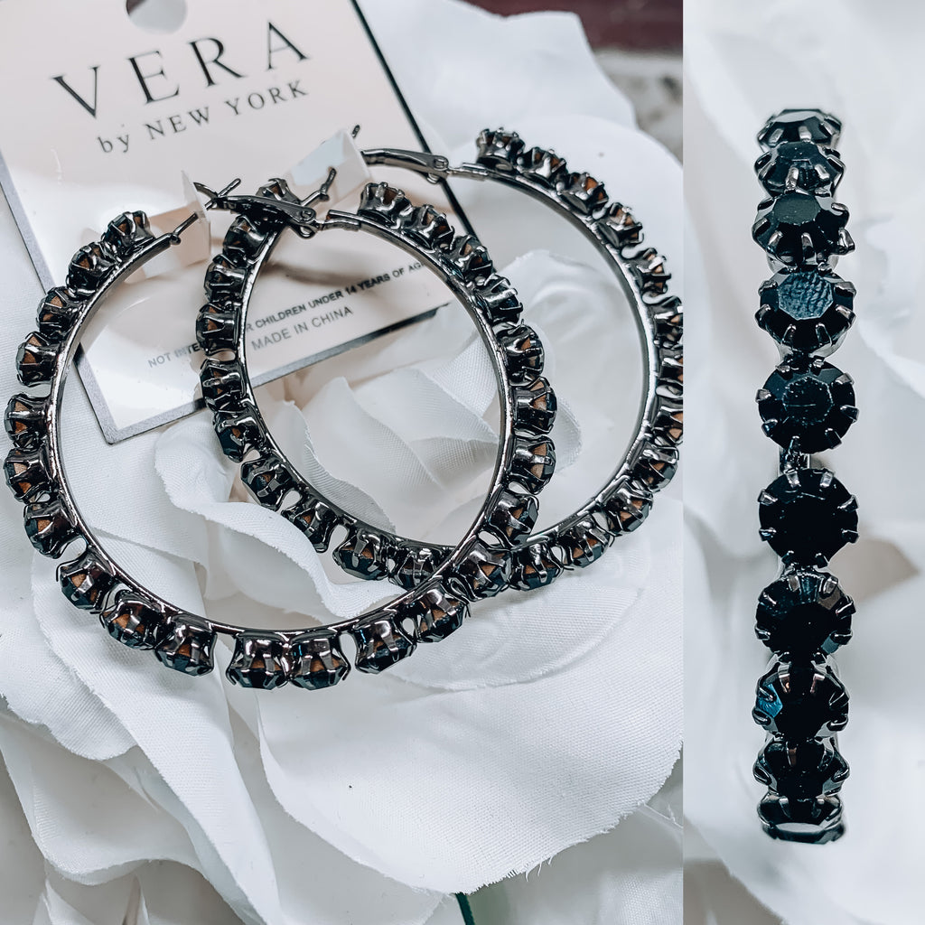 Vera Diamond Hoop Earrings - Black