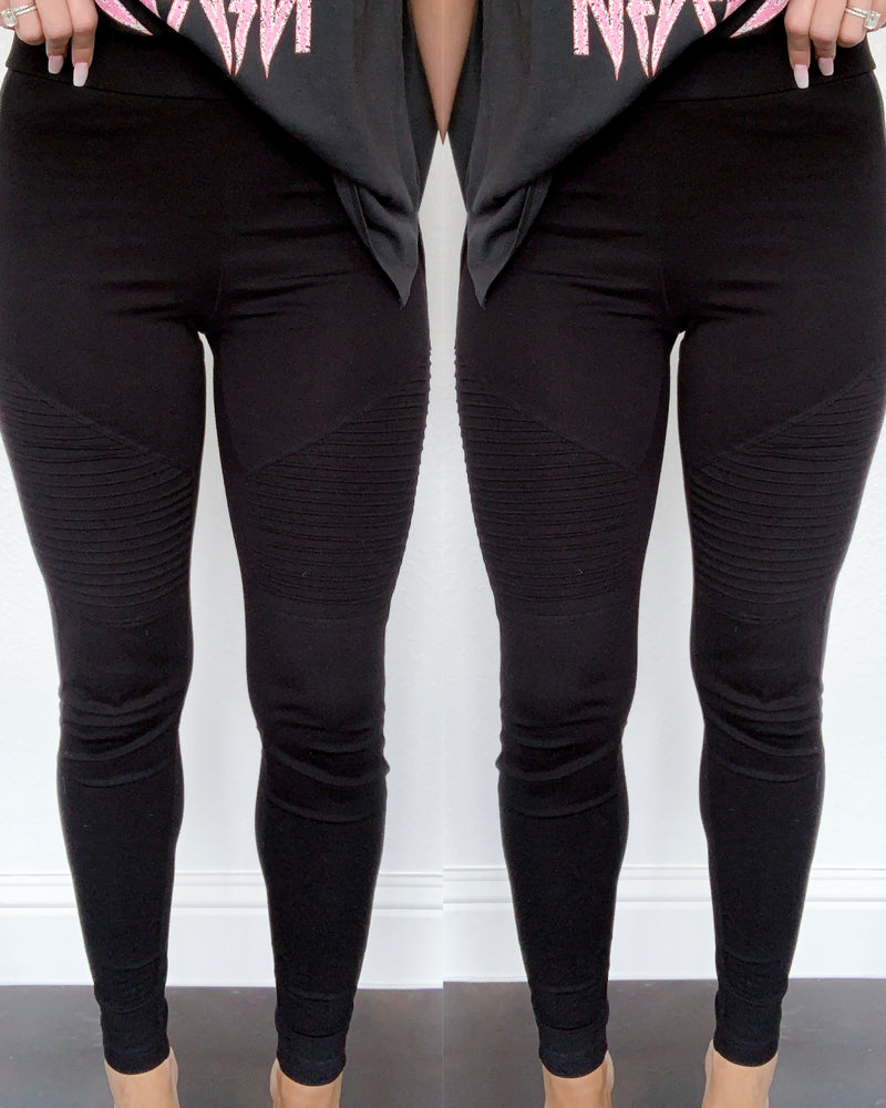 Raven Moto Leggings - Black