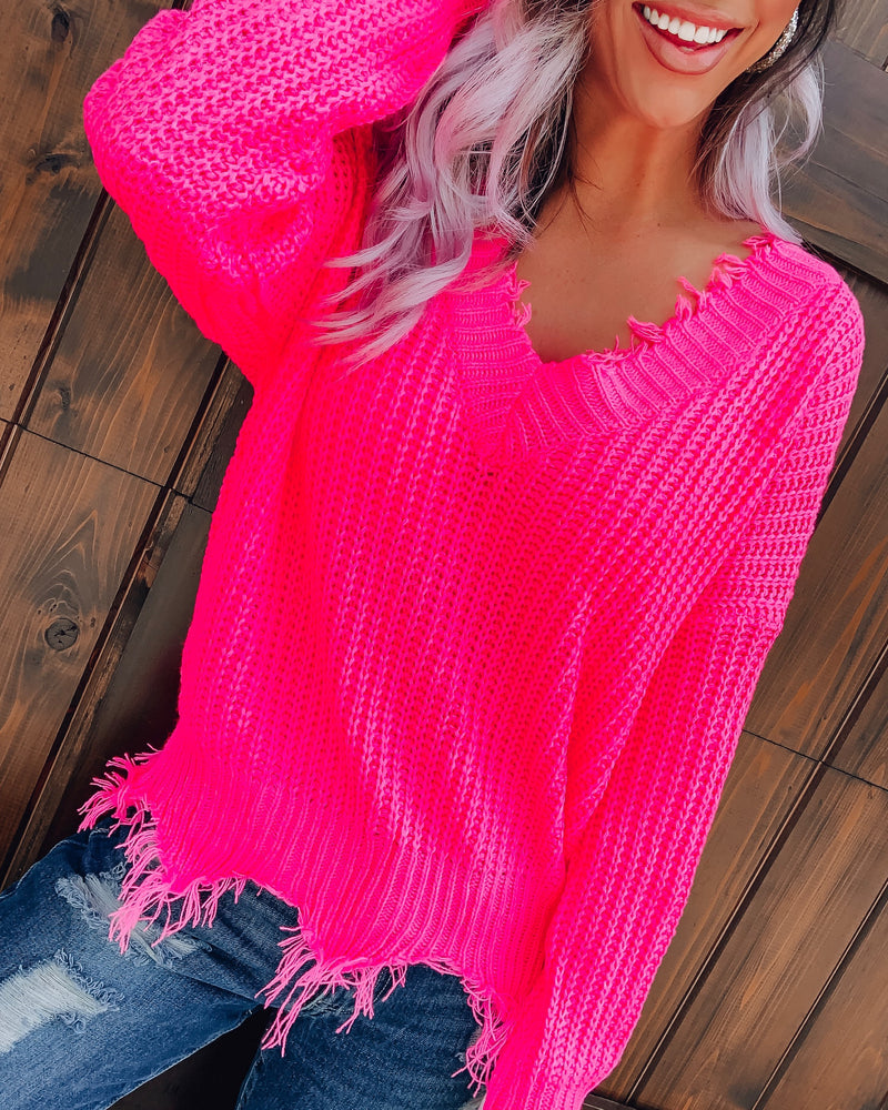Distressed Sweater - Hot Pink
