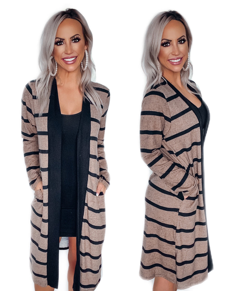Just The Beginning Stripe Cardigan - Mocha