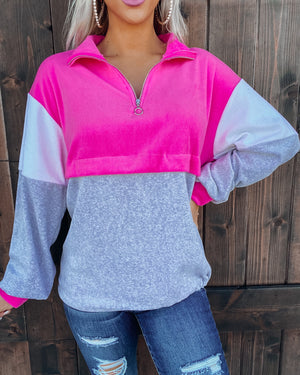 Cool Mornings Pullover - Pink/Grey
