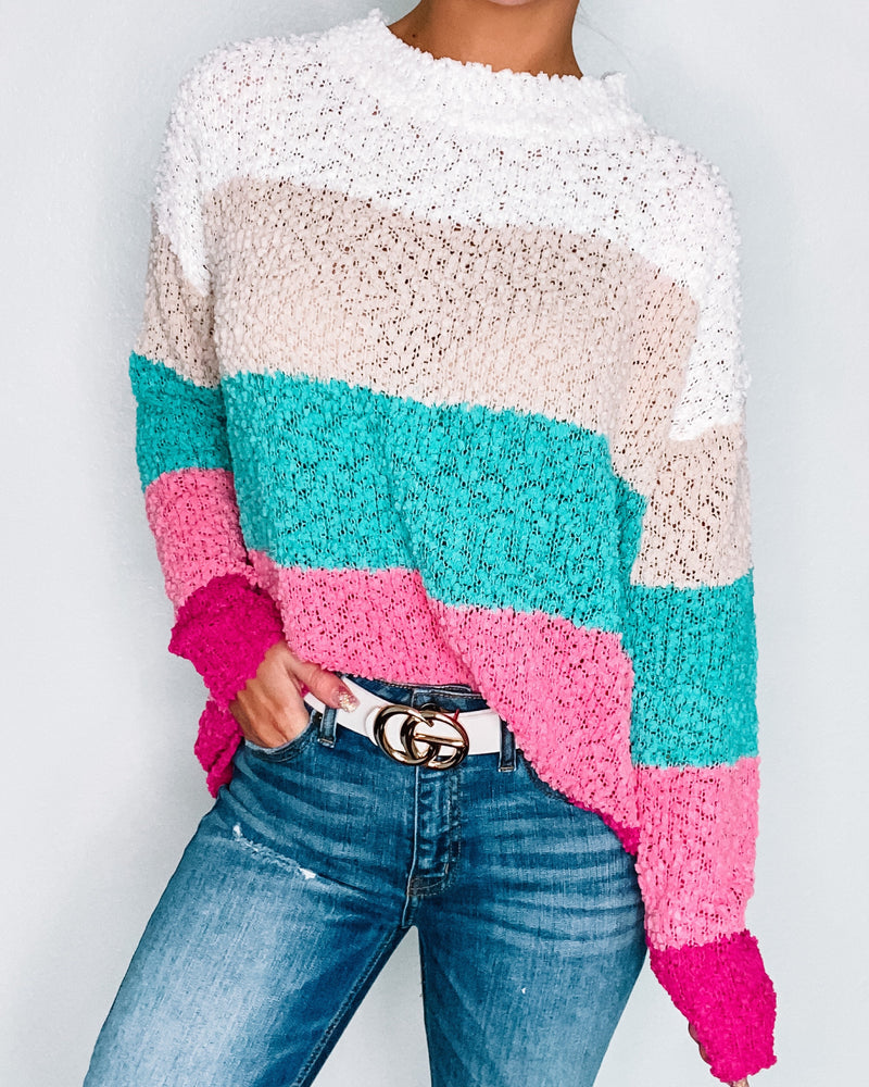 True Love Colorblock Popcorn Sweater - Pink/Turquoise