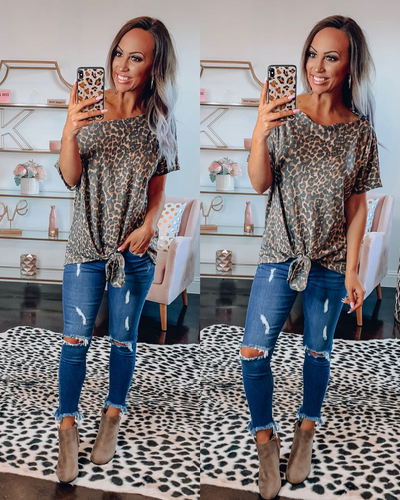 Heather Leopard Tie Top