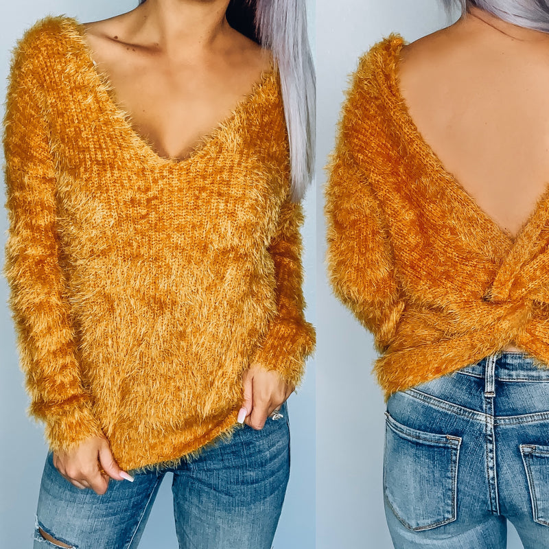 Fuzzy Twist Back Sweater - Mustard