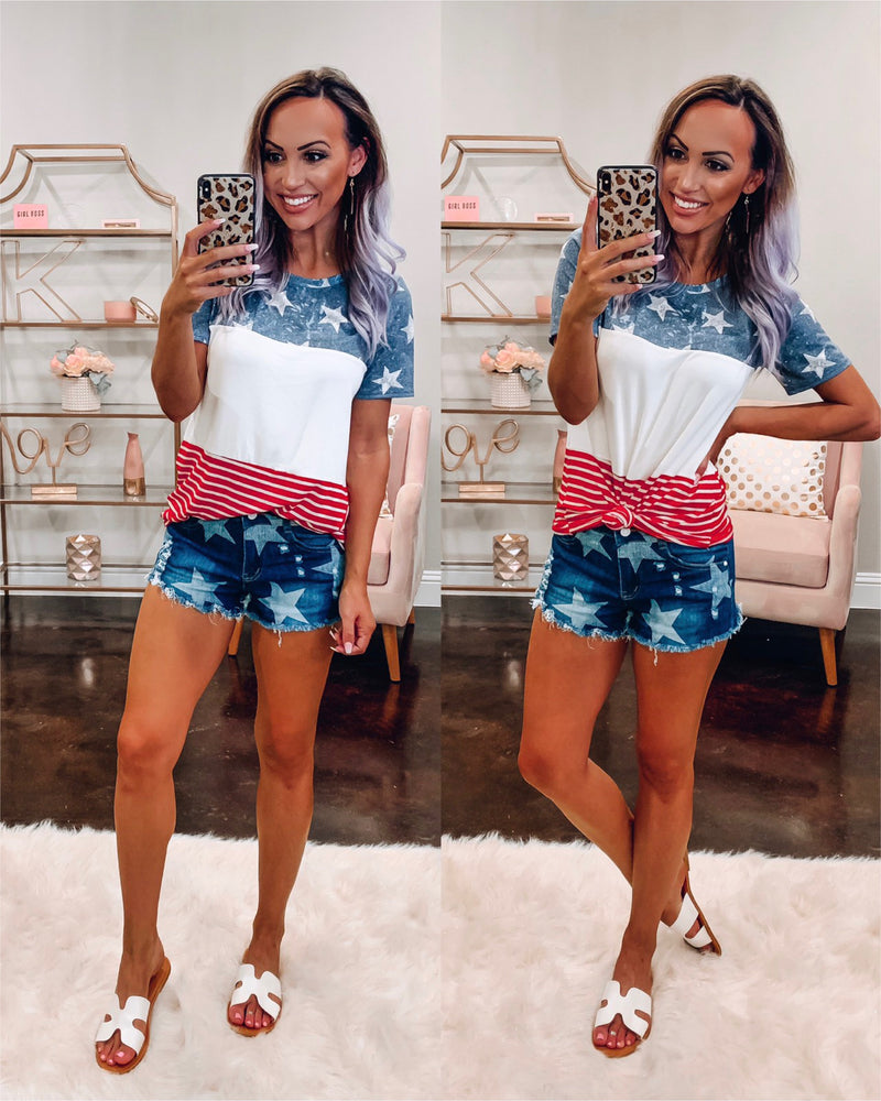 Stars & Stripes Colorblock Top