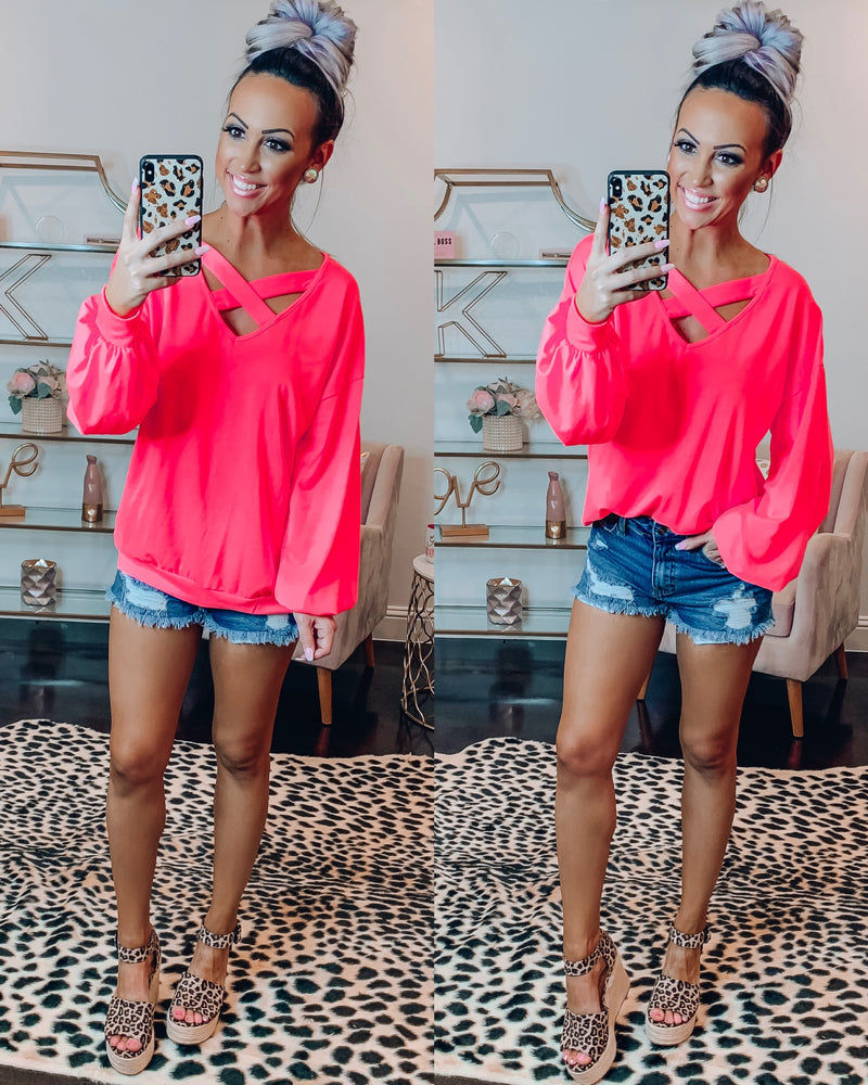 Criss Cross Balloon Sleeve Sweater - Neon Pink
