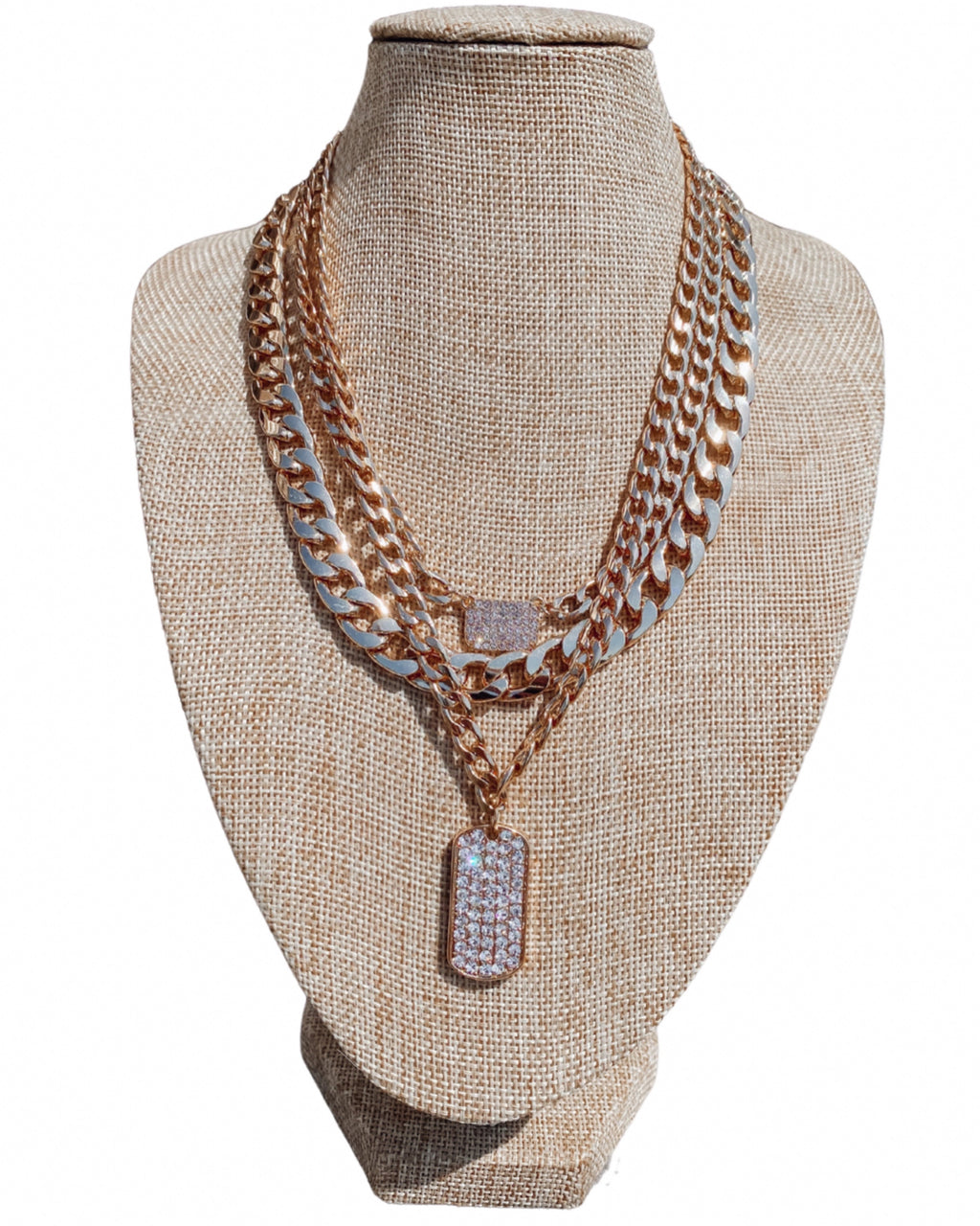 Divine Chain Layered Necklace Set - Gold