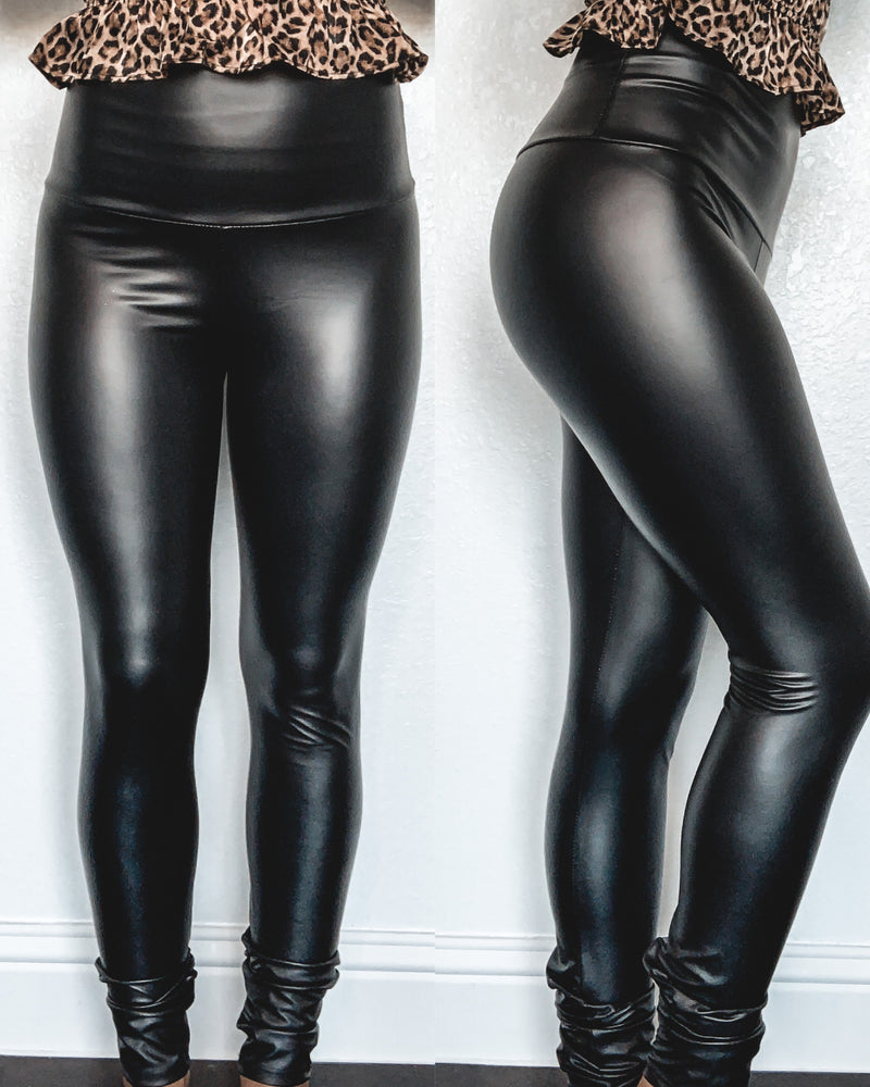High Rise Faux Leather Leggings