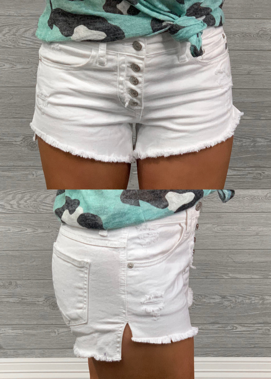 Sadie White Button Shorts