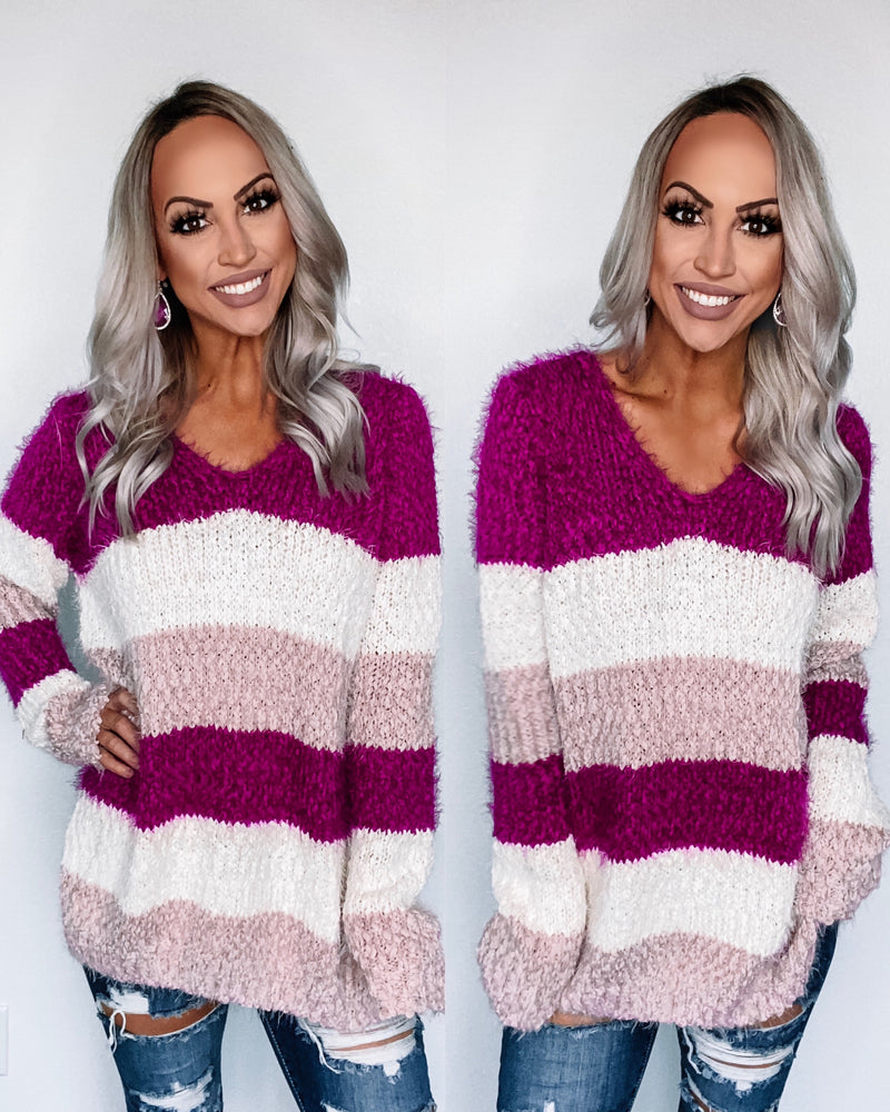 Chilly Nights Colorblock Popcorn Sweater - Magenta