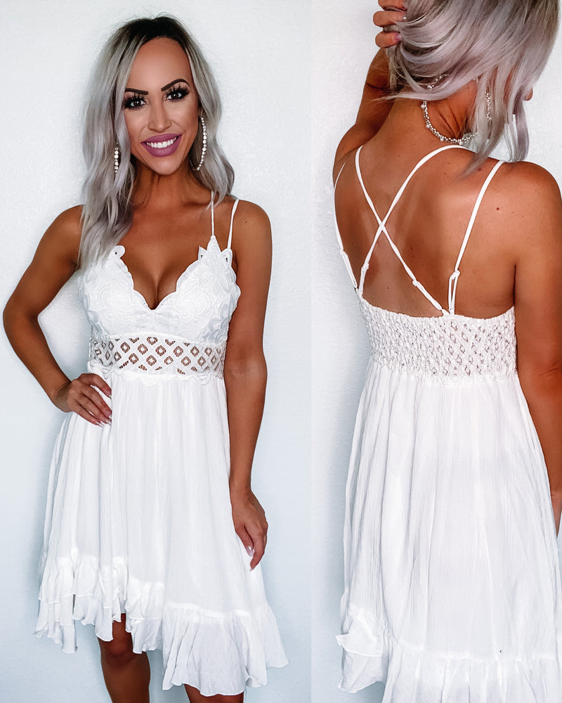 Breezy Crochet Lace Dress - White