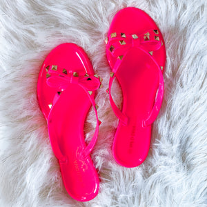 Studded Bow Sandals - Neon Pink
