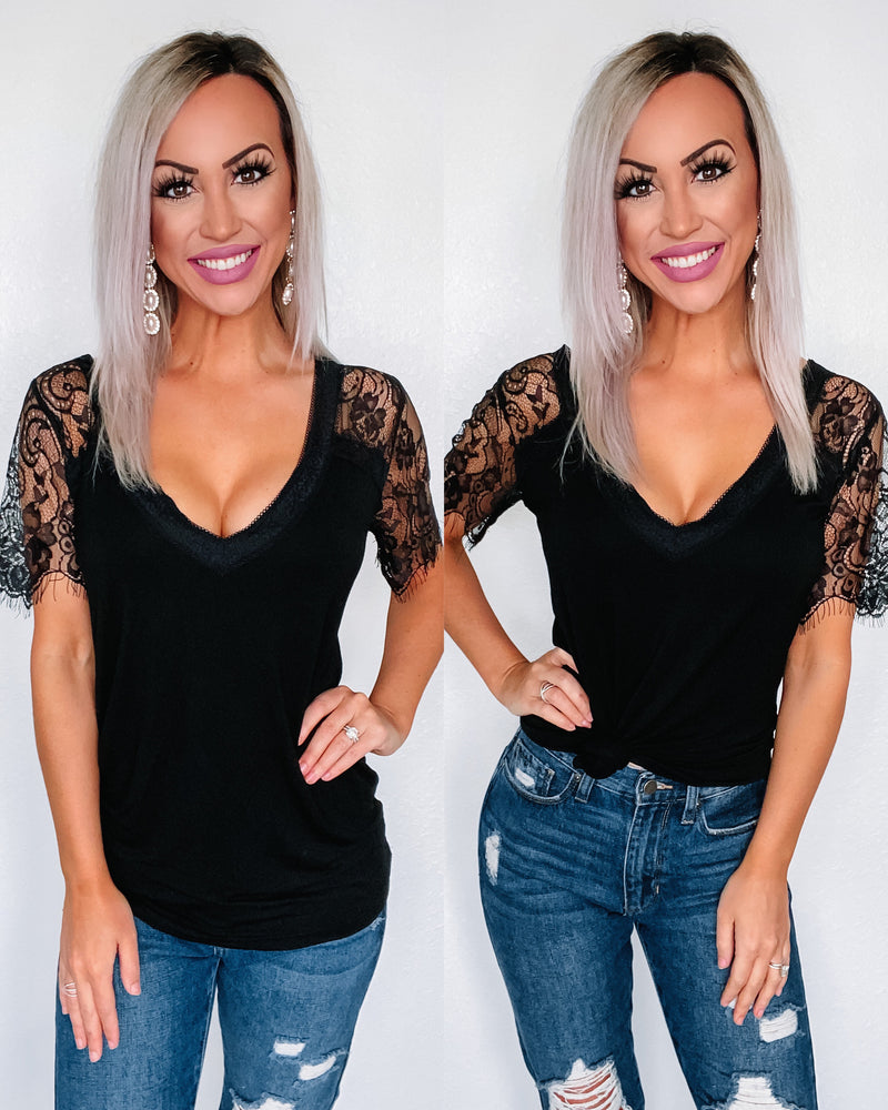 Faith Lace Vneck Top - Black