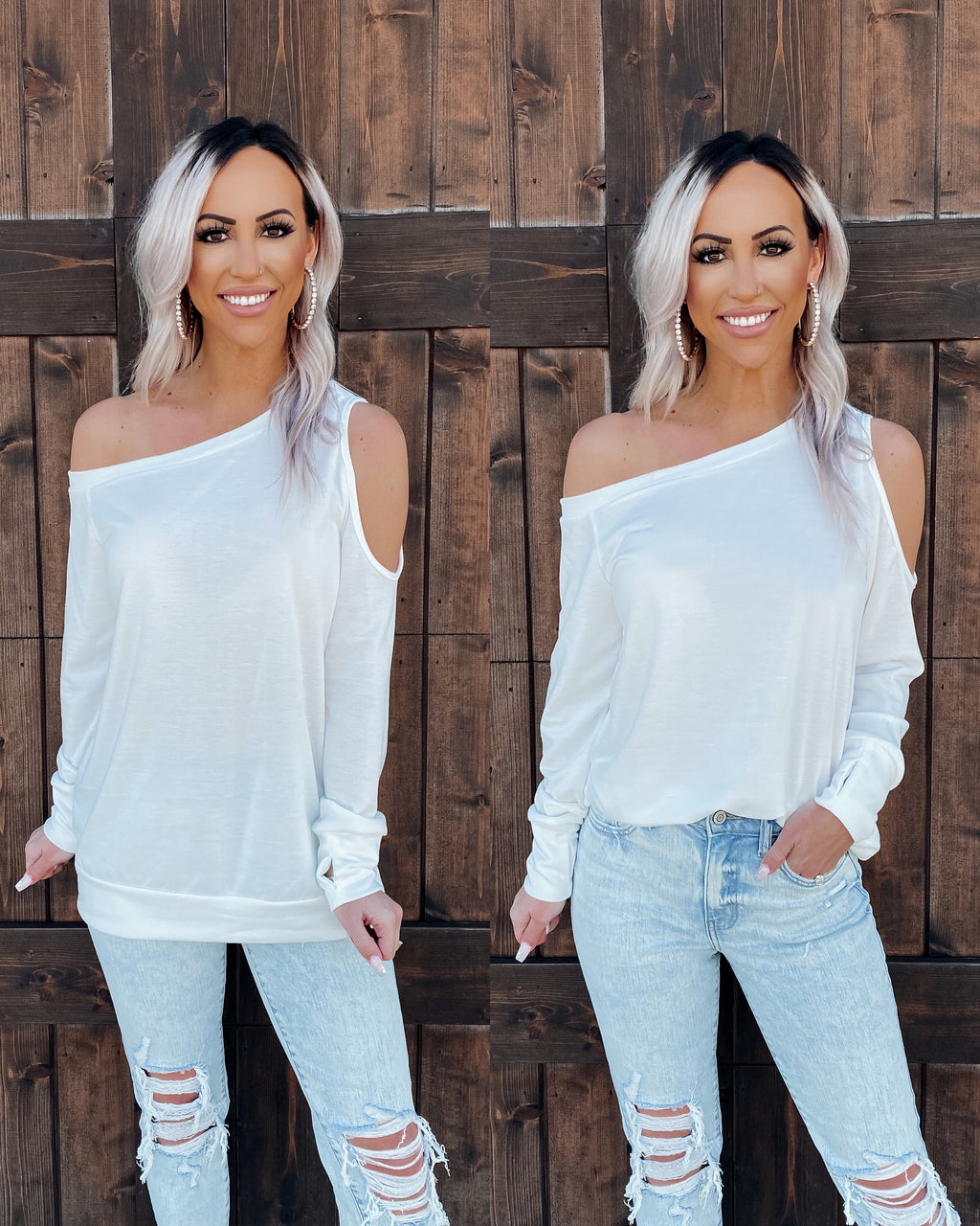 Avery Open Shoulder Top - Ivory