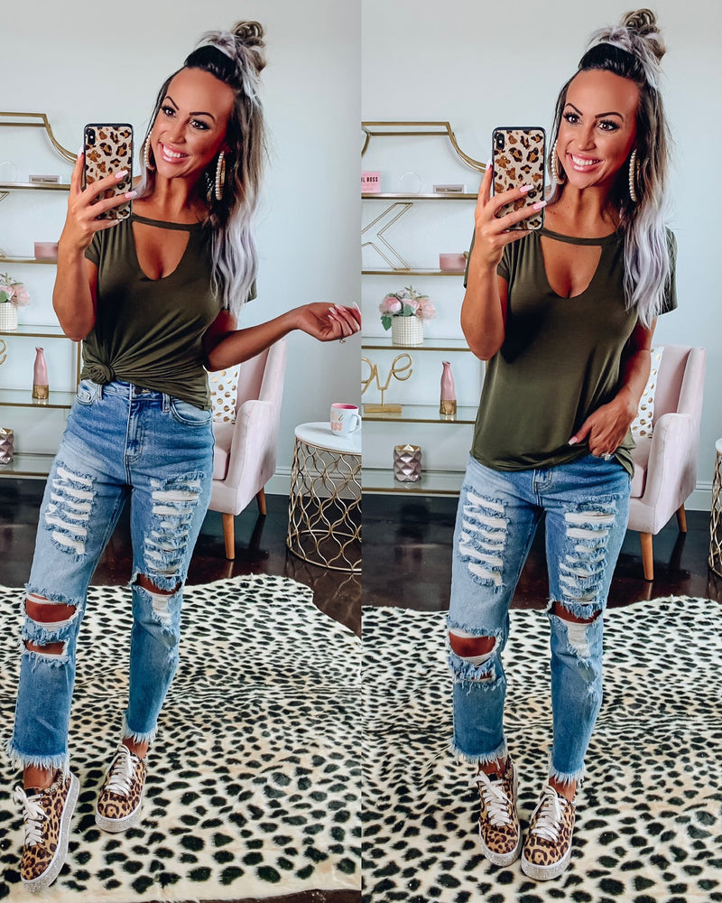 Edgy Cutout Tee - Olive
