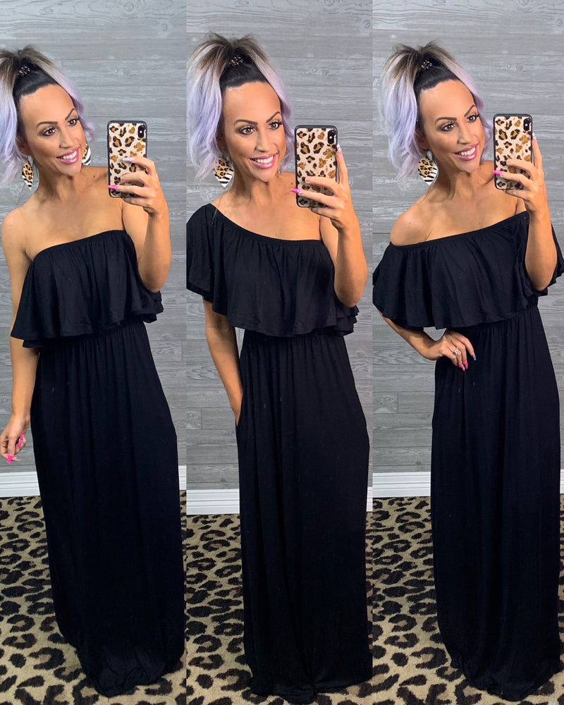 Day Date Ruffle Maxi - Black