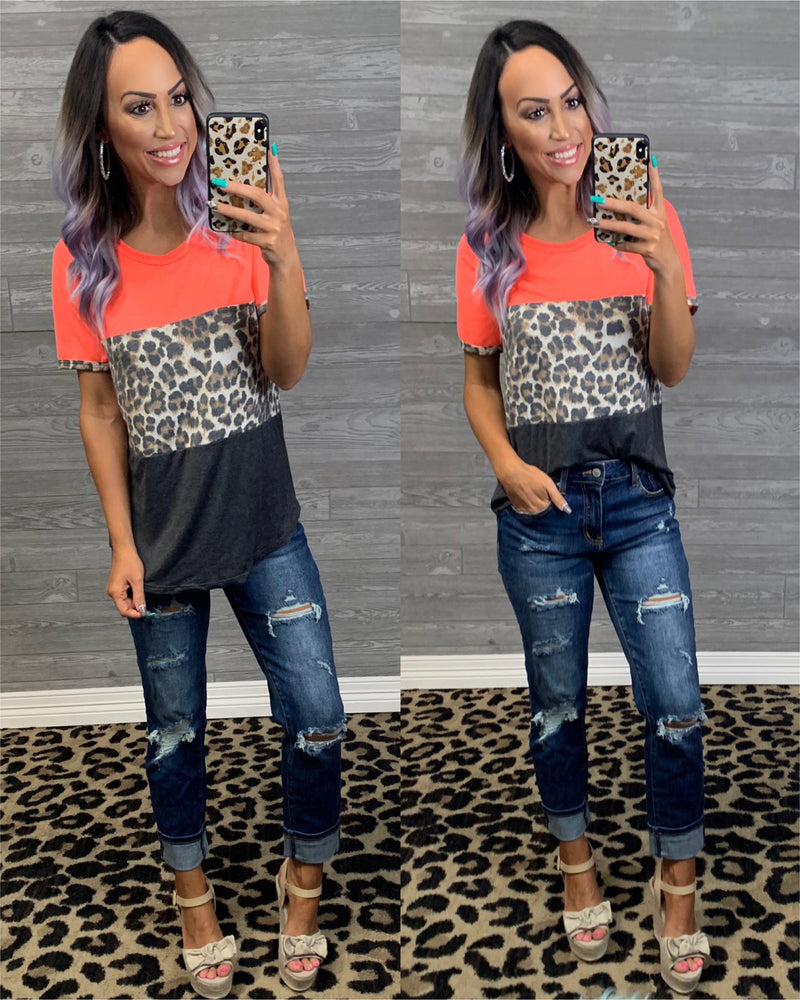 Neon Coral Leopard Colorblock Top