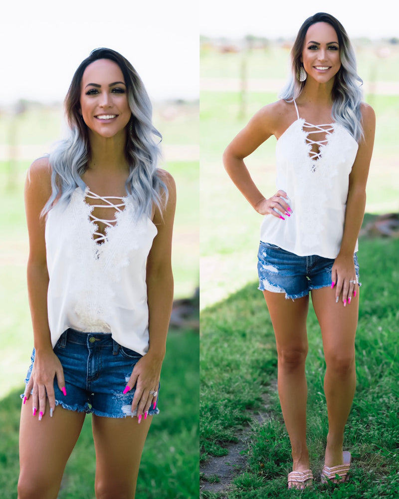 Oh So Classy Lace Tank - White