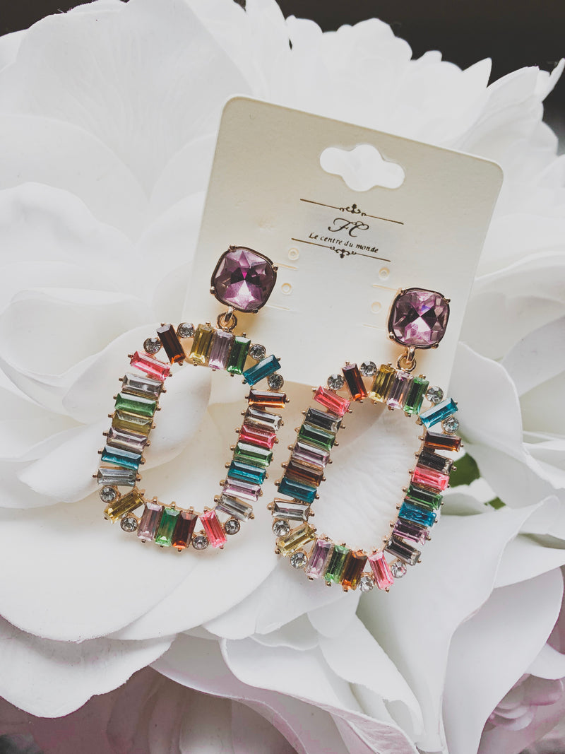 Multi Color Crystal Earrings