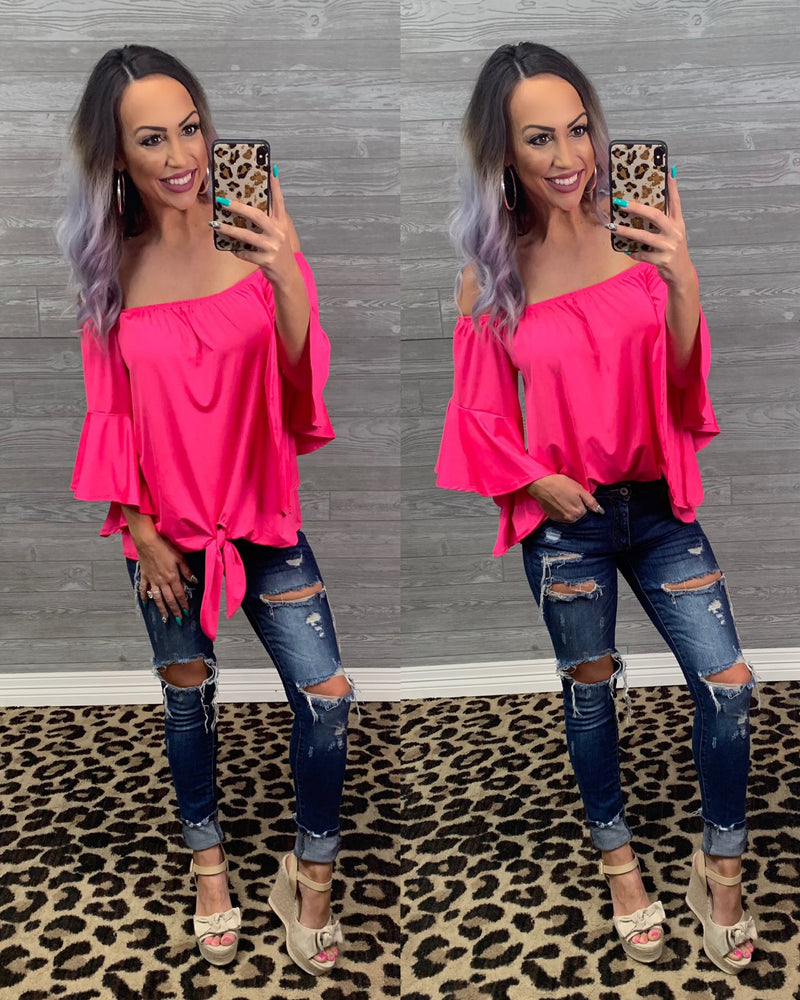 Summer Ruffle Tie Top - Hot Pink