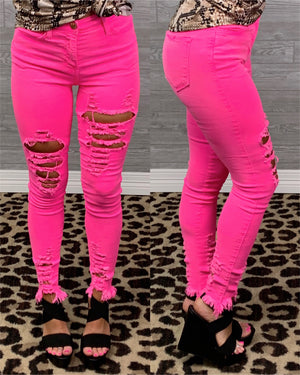 Barbie Girl Distressed Skinnies - Neon Pink