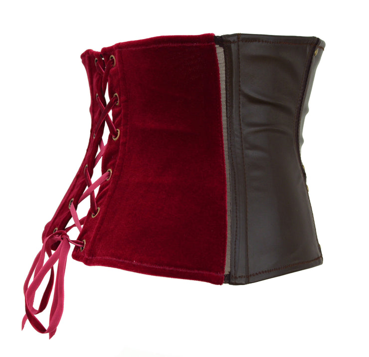 Thor Inspired Waspie Style Corset brown leather red velvet by knickerocker