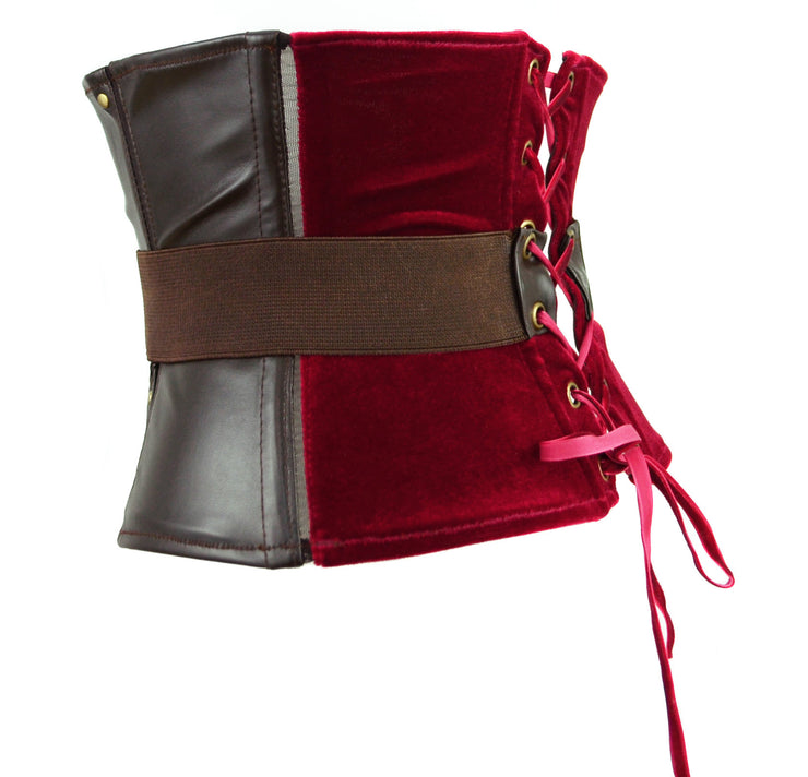 Thor Inspired Waspie Style Corset with Belt red velvet and brown leather lingerie by knickerocker