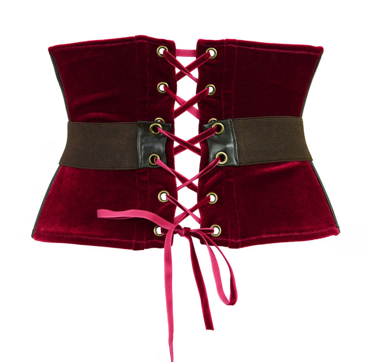 Thor Inspired Waspie Style Corset with Belt red velvet brown leather by knickerocker