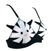 womens black and white striped cat bra bralet from knickerocker